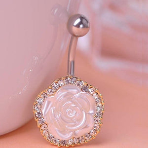 White Shell Rose Navel Piercing Belly Button Ring Verekadi.com