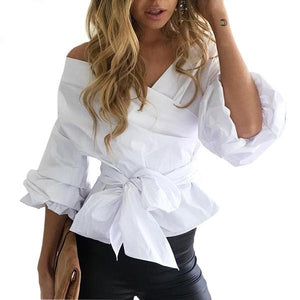 Sexy Off Shoulder Ruffled Bow Ruched Sleeves Blouses Top Verkadi.com