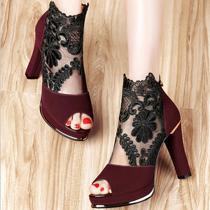 New High Heel Coarse Gauze Lace Fish Mouth Sandals Pumps