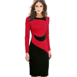 Long Sleeve Knee-Length Pencil Elegant Professional Dress