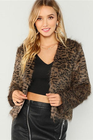 leopard faux fur women jacket by chicdrift