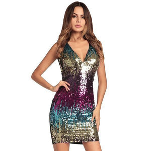 Sexy Club Sequin Sleeveless Sheath Bodycon Party Dress Verkadi.com