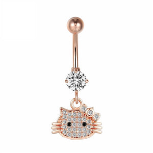 Rose Gold Hello Kitty Navel Piercing Belly Button Ring