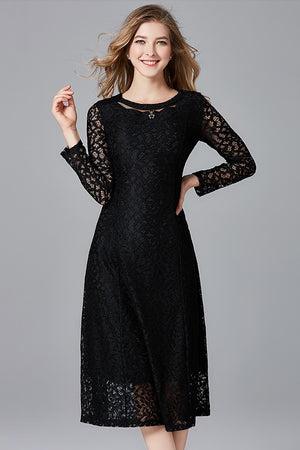 Hot Hollow Lace Long Casual A-Line Midi Dress