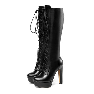 Genuine Leather Shoelaces Spike High Heels Platform Long Boots