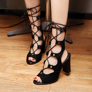 Hot Gladiator Style High Heel Mid Calf Strap Sandals Verkadi.com