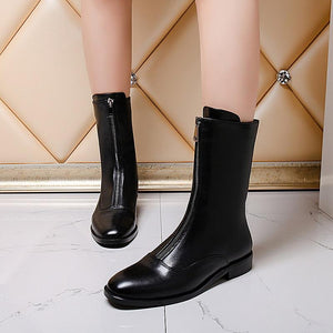 Top Quality Genuine Leather Square Heel Mid Calf Boots