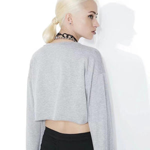 Lace-up Flare Sleeve Crop Top Street Wear Hoodie Sweatshirt