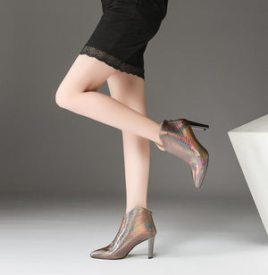 Italian Style Slip On Pointed Toe High Heels Ankle Boots Verkadi.com