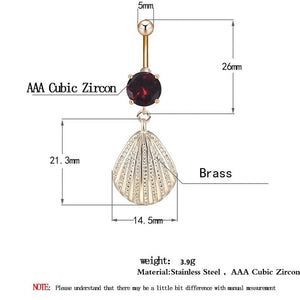 Sexy Zircon Shell  Navel Piercing Belly Button Ring