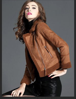 Hip Faux Sheepskin Lamb Wool Women Suede Leather Jacket