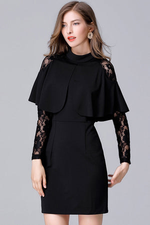 Lace Patchwork Cloak Sleeves Cape Design Mini Dress