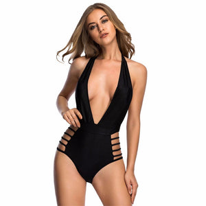 Sexy Backless V neck Straps One Piece Swimsuit Verkadi.com