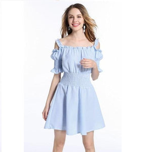 Sexy Slash Neck Ruffles Puff Sleeve Style Casual Summer Dress verkadi.com