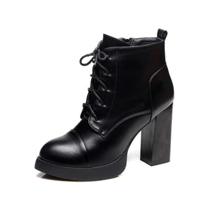 Square Chunky Heel Round Toe Designer Ankle Boots
