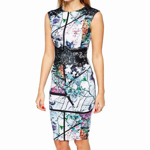 Vintage Geometric Print Sleeveless Bodycon Dress Verkadi.com