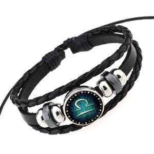 Unisex Zodiac Sign Genuine Braided Leather Bracelet