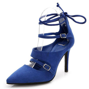 Pointed High Heels Ankle Strap Pump Shoes Verkadi.com