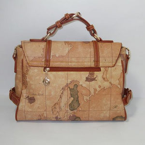 Geometric World Map Printed Vintage Shoulder Handbag Verkadi.com