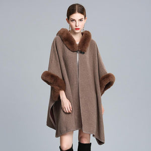 Elegant Faux Rabbit Fur Hooded Knitted Coat Cardigan