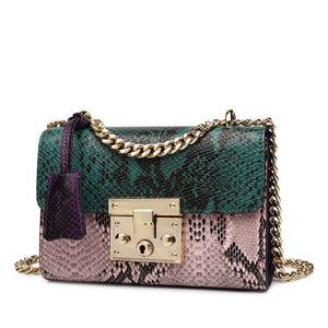 Hottest Leather Snake Skin Impression Designer Handbag