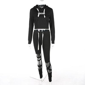Street Style Hooded Cropped Fitness Tracksuit