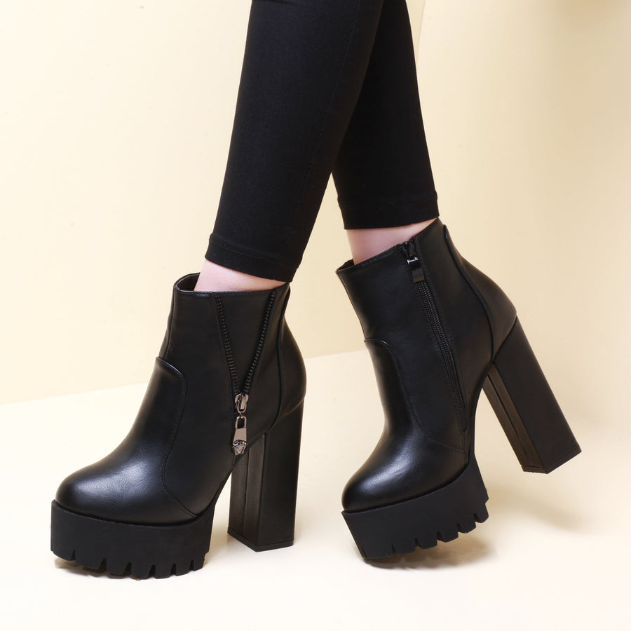 Hip Ankle Round Toe Square Chunky High Heels Boots Verkadi.com