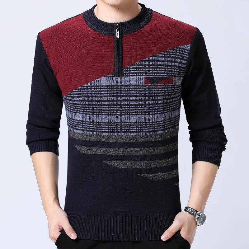 Smart Plaid Pull Casual Thin Men Sweaters Pullover