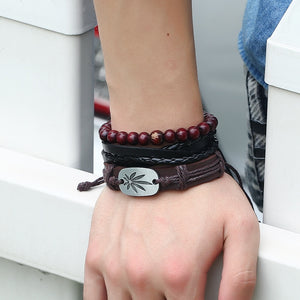Handmade Weaved Vintage Gypsy Cuff Beads Leather Bracelet