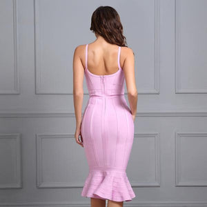 Spaghetti Strap Mermaid V-Neck Knee Length Evening Party Dress Verkadi.com