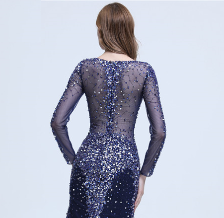 Spicy Transparent Long Sleeve Mermaid Evening Dress Verkadi.com