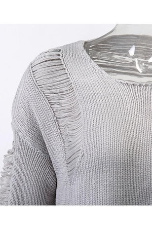 Hollow Out Knitted O-Neck Long Sleeve Sweater Pullover
