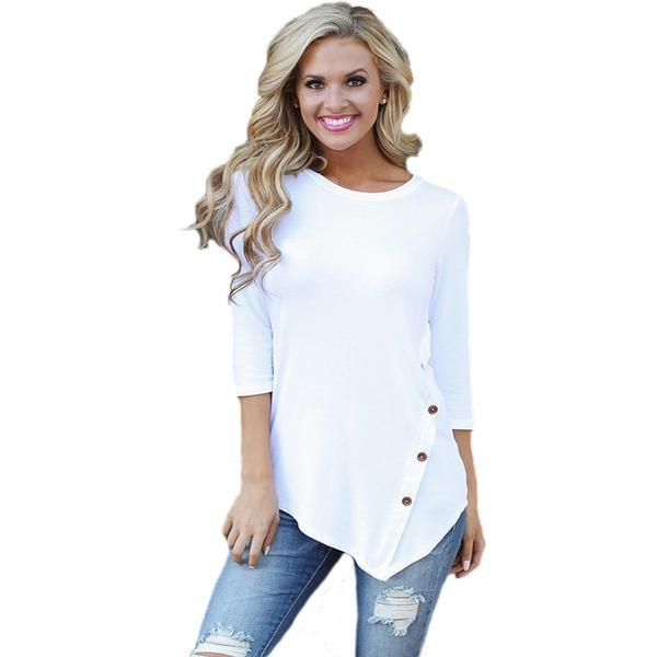 Stylish Long Sleeve Tunic Irregular Hem Top Blouse Verkadi.com