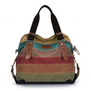 Fashion Canvas Hand & Shoulder Patchwork Casual Hand Bag
