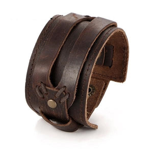 Unisex Leather Open Cuff Rope Wide Hip Bracelet