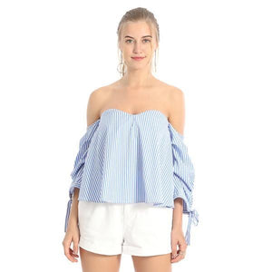 Sexy Off Shoulder Elegant Striped Loose Top Blouse Verkadi.com