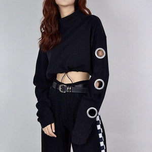 Fashion Street Wear Holes Cropped Hoodie Sweatshirt Verkadi.com