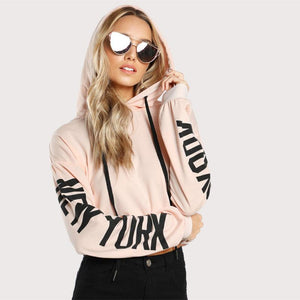 Drop Shoulder Pink Long Sleeve Hooded Top Verkadi.com