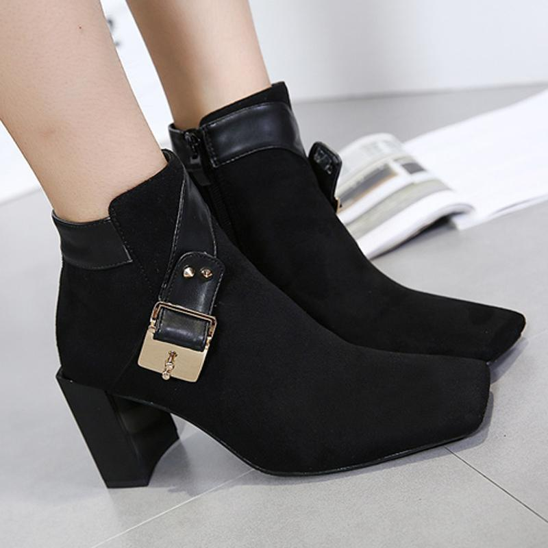 Hot Suede Leather Square Toe Chunky High Heel Ankle Boots verkadi.com