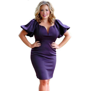 Elegant Puff Sleeve Bodycon Queen Style Plus Size Dress Verkadi.com