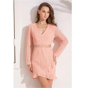 Ruffles Lace Border Hollow Out Casual High Street Dress Verkadi.com