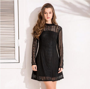 Trendy Lace Backless Hollow Lining A Line Party Dress Verkadi.com