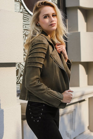 Lily Rosie Casual Suede Leather Women's Jacket