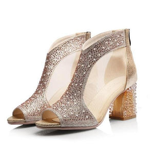Diamond Square Chunky High Heel Sandals Shoes Verkadi.com