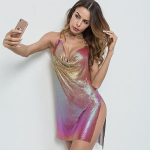 61fd2813853 Hot Backless Sequins Split Mini Club Party Dress