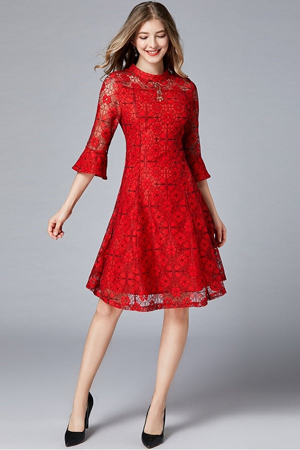 Flare Sleeve Hollow Lace A-line Plus Size Mini Dress