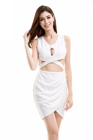 Elegant Hot White Cut Out Irregular Mini Dress