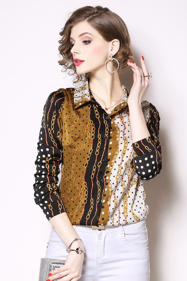 Printed Long Sleeve Chiffon Women Blouses Shirt Top