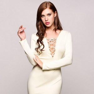 Sexy Bodycon Bandage Deep V neck Lace Up Dress Verkadi.com