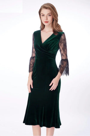 Velvet V-Neck High Stretch Lace Sleeve Vintage Formal Dress